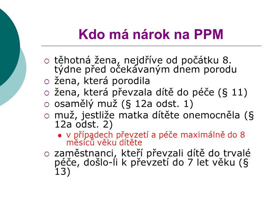 Kdo má nárok na PPM  těhotná žena, nejdříve od počátku 8.