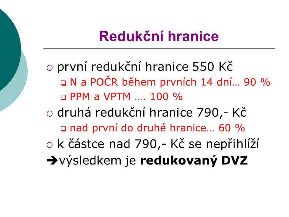 Redukční hranice  první redukční hranice 550 Kč  N a POČR během prvních 14 dní… 90 %  PPM a VPTM …. 100 %  druhá redukční hranice 790,- Kč  nad p