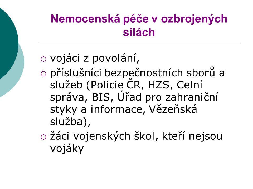 Nemocenská péče v ozbrojených silách  vojáci z povolání,  příslušníci bezpečnostních sborů a služeb (Policie ČR, HZS, Celní správa, BIS, Úřad pro za