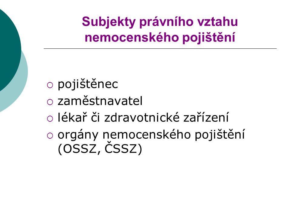 Subjekty právního vztahu nemocenského pojištění  pojištěnec  zaměstnavatel  lékař či zdravotnické zařízení  orgány nemocenského pojištění (OSSZ, ČSSZ)