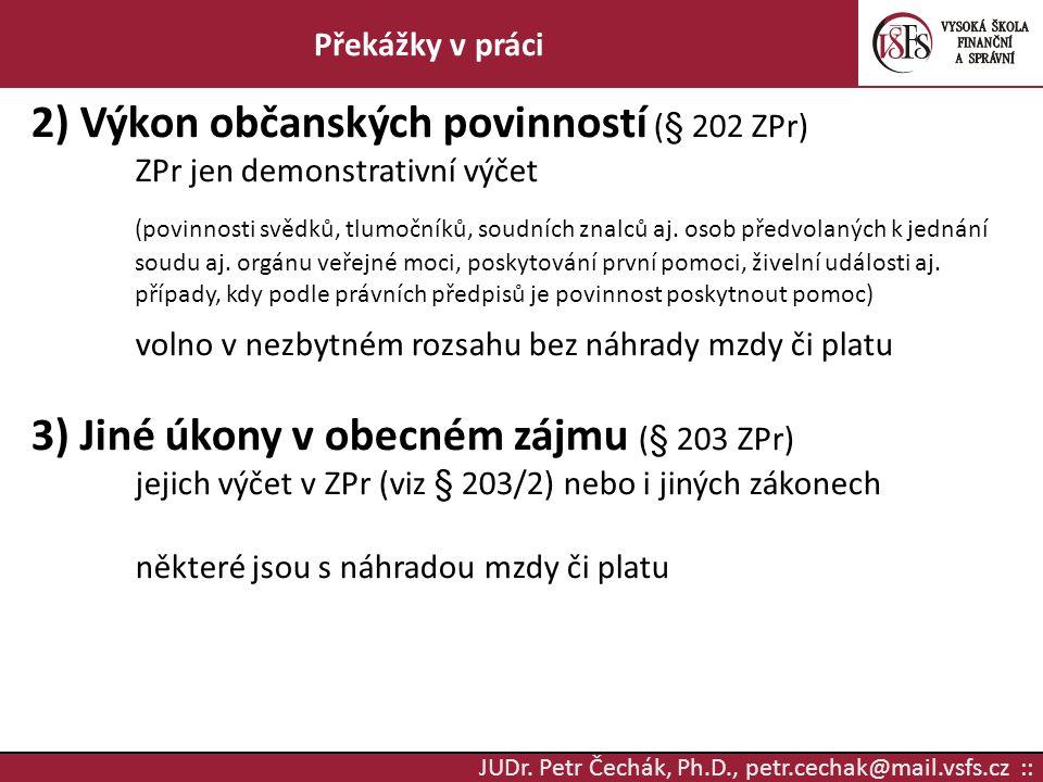 JUDr. Petr Čechák, Ph.D., petr.cechak@mail.vsfs.cz :: Překážky v práci 2) Výkon občanských povinností (§ 202 ZPr) ZPr jen demonstrativní výčet (povinn
