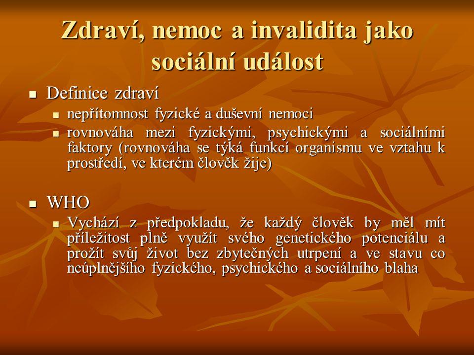 Zdraví, nemoc a invalidita jako sociální událost Definice zdraví Definice zdraví nepřítomnost fyzické a duševní nemoci nepřítomnost fyzické a duševní nemoci rovnováha mezi fyzickými, psychickými a sociálními faktory (rovnováha se týká funkcí organismu ve vztahu k prostředí, ve kterém člověk žije) rovnováha mezi fyzickými, psychickými a sociálními faktory (rovnováha se týká funkcí organismu ve vztahu k prostředí, ve kterém člověk žije) WHO WHO Vychází z předpokladu, že každý člověk by měl mít příležitost plně využít svého genetického potenciálu a prožít svůj život bez zbytečných utrpení a ve stavu co neúplnějšího fyzického, psychického a sociálního blaha Vychází z předpokladu, že každý člověk by měl mít příležitost plně využít svého genetického potenciálu a prožít svůj život bez zbytečných utrpení a ve stavu co neúplnějšího fyzického, psychického a sociálního blaha