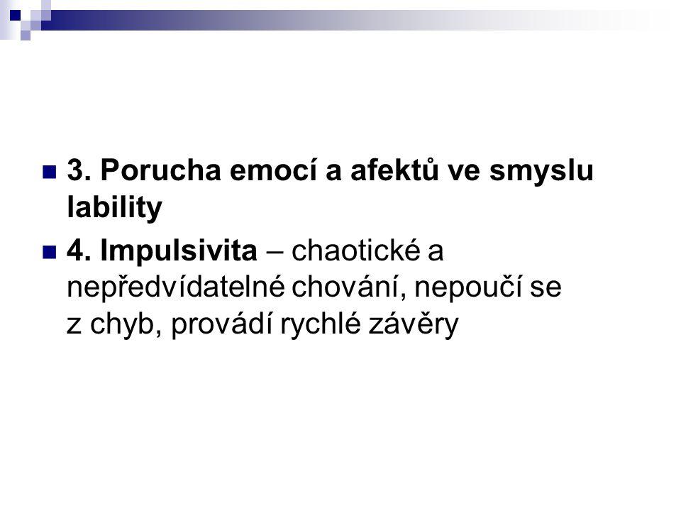 3.Porucha emocí a afektů ve smyslu lability 4.