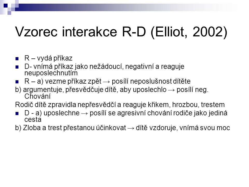 Vzorec interakce R-D (Elliot, 2002) R – vydá příkaz D- vnímá příkaz jako nežádoucí, negativní a reaguje neuposlechnutím R – a) vezme příkaz zpět → pos