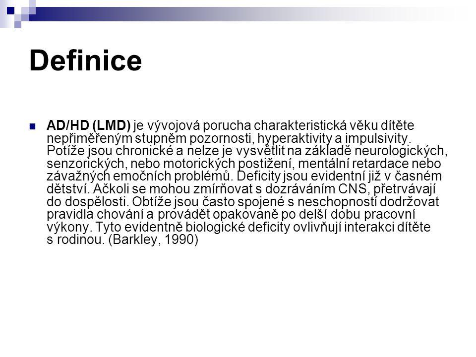 Definice AD/HD (LMD) je vývojová porucha charakteristická věku dítěte nepřiměřeným stupněm pozornosti, hyperaktivity a impulsivity. Potíže jsou chroni