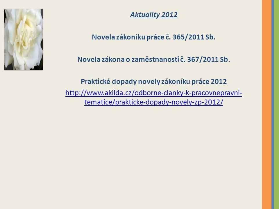 Aktuality 2012 Novela zákoníku práce č. 365/2011 Sb. Novela zákona o zaměstnanosti č. 367/2011 Sb. Praktické dopady novely zákoníku práce 2012 http://