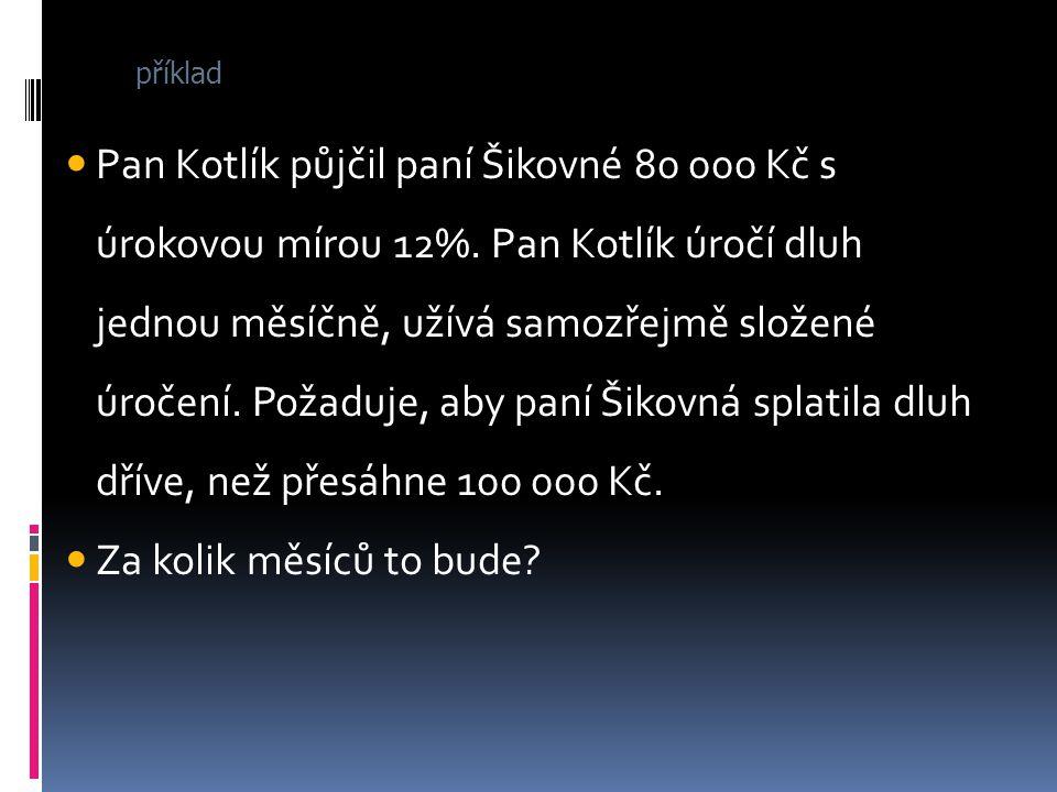 Pan Kotlík půjčil paní Šikovné 80 000 Kč s úrokovou mírou 12%. Pan Kotlík úročí dluh jednou měsíčně, užívá samozřejmě složené úročení. Požaduje, aby p