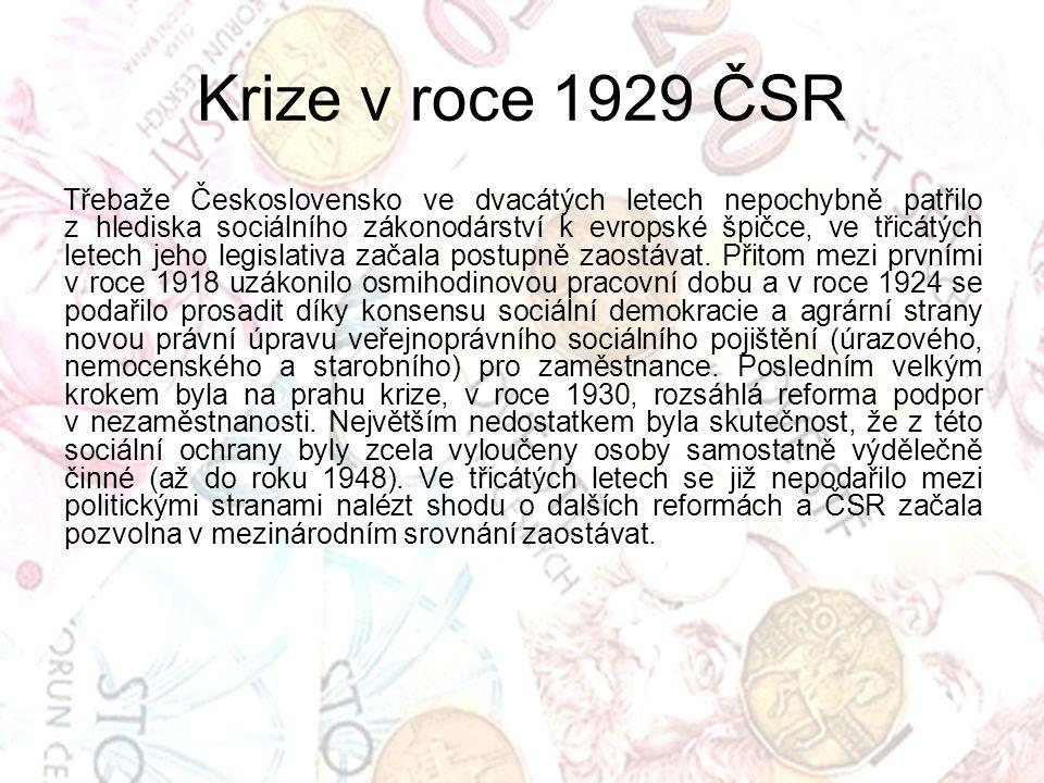 Třebaže Československo ve dvacátých letech nepochybně patřilo z hlediska sociálního zákonodárství k evropské špičce, ve třicátých letech jeho legislat