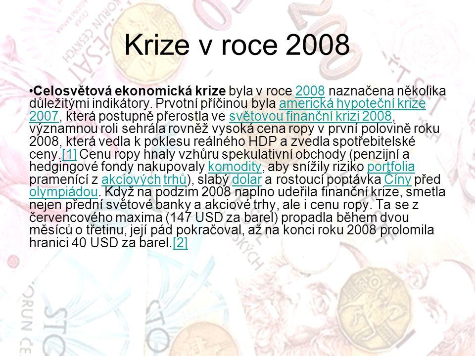Celosvětová ekonomická krize byla v roce 2008 naznačena několika důležitými indikátory. Prvotní příčinou byla americká hypoteční krize 2007, která pos