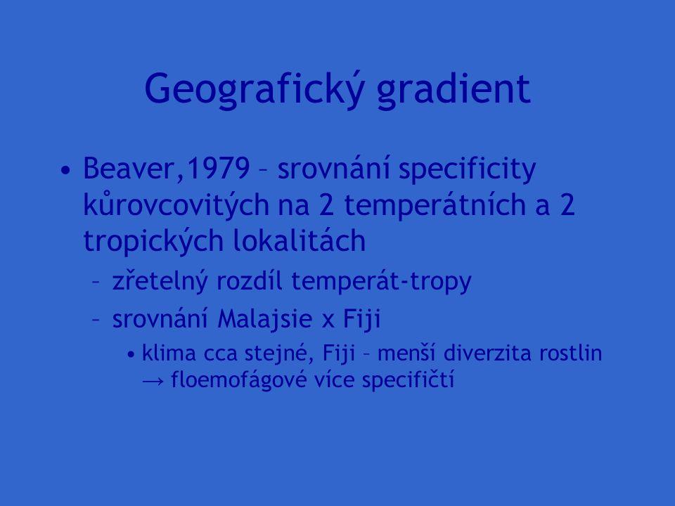 Geografický gradient Beaver,1979 – srovnání specificity kůrovcovitých na 2 temperátních a 2 tropických lokalitách –zřetelný rozdíl temperát-tropy –sro