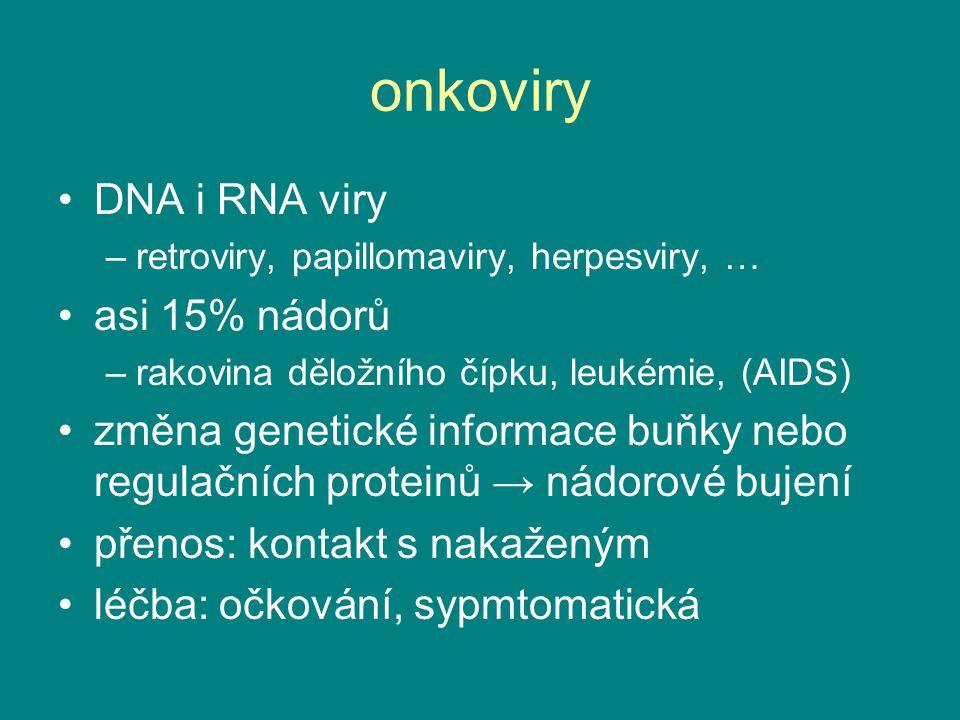 onkoviry DNA i RNA viry –retroviry, papillomaviry, herpesviry, … asi 15% nádorů –rakovina děložního čípku, leukémie, (AIDS) změna genetické informace