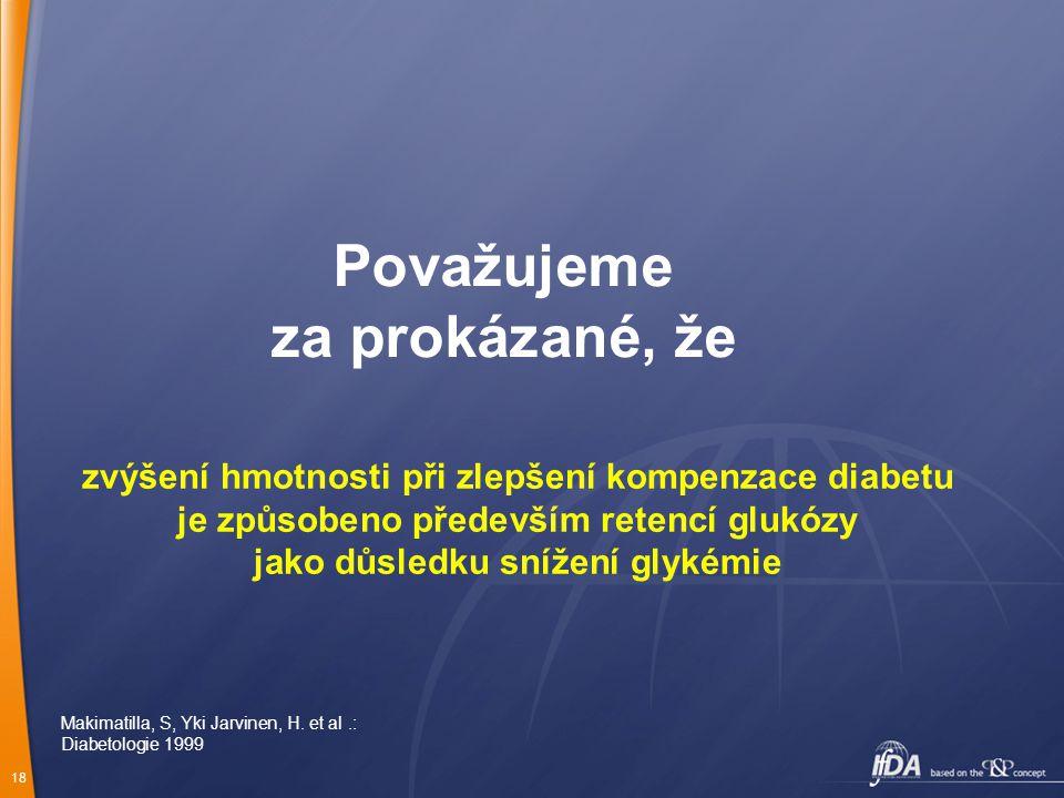 18 Považujeme za prokázané, že zvýšení hmotnosti při zlepšení kompenzace diabetu je způsobeno především retencí glukózy jako důsledku snížení glykémie Makimatilla, S, Yki Jarvinen, H.