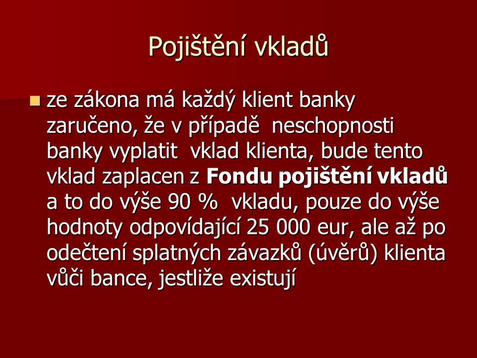 Pojištění vkladů ze zákona má každý klient banky zaručeno, že v případě neschopnosti banky vyplatit vklad klienta, bude tento vklad zaplacen z Fondu p