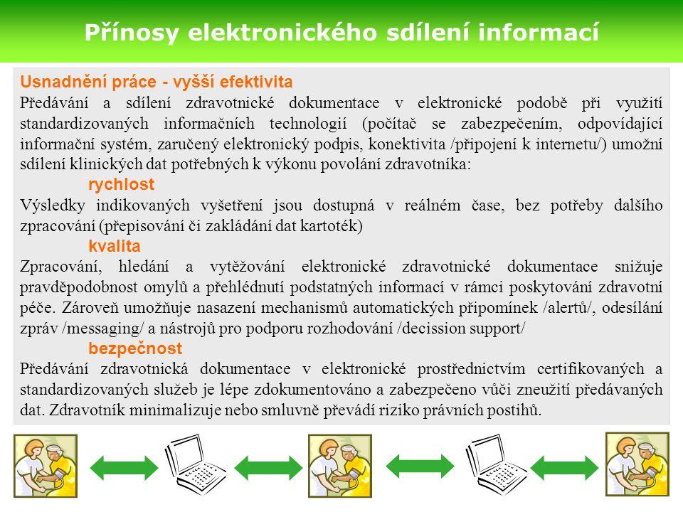 Přínosy elektronického sdílení informací Usnadnění práce - vyšší efektivita Předávání a sdílení zdravotnické dokumentace v elektronické podobě při využití standardizovaných informačních technologií (počítač se zabezpečením, odpovídající informační systém, zaručený elektronický podpis, konektivita /připojení k internetu/) umožní sdílení klinických dat potřebných k výkonu povolání zdravotníka: rychlost Výsledky indikovaných vyšetření jsou dostupná v reálném čase, bez potřeby dalšího zpracování (přepisování či zakládání dat kartoték) kvalita Zpracování, hledání a vytěžování elektronické zdravotnické dokumentace snižuje pravděpodobnost omylů a přehlédnutí podstatných informací v rámci poskytování zdravotní péče.