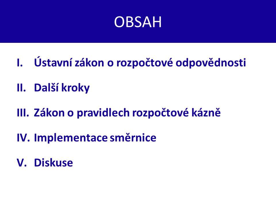 OBSAH I.Ústavní zákon o rozpočtové odpovědnosti II.Další kroky III.Zákon o pravidlech rozpočtové kázně IV.Implementace směrnice V.Diskuse