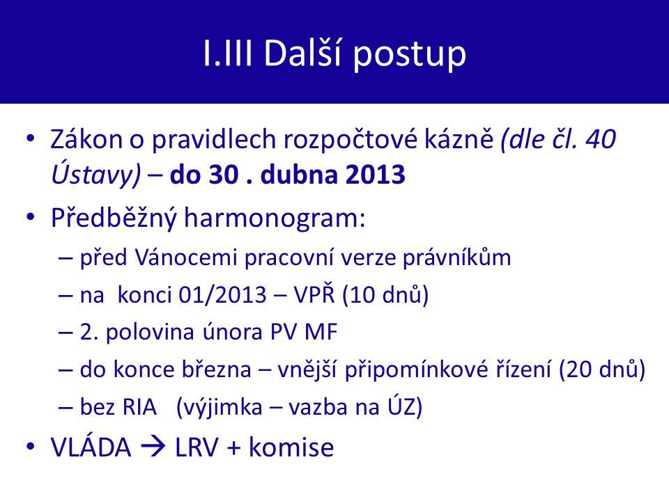 I.III Další postup Zákon o pravidlech rozpočtové kázně (dle čl. 40 Ústavy) – do 30. dubna 2013 Předběžný harmonogram: – před Vánocemi pracovní verze p