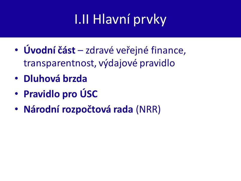 I.II Hlavní prvky Úvodní část – zdravé veřejné finance, transparentnost, výdajové pravidlo Dluhová brzda Pravidlo pro ÚSC Národní rozpočtová rada (NRR