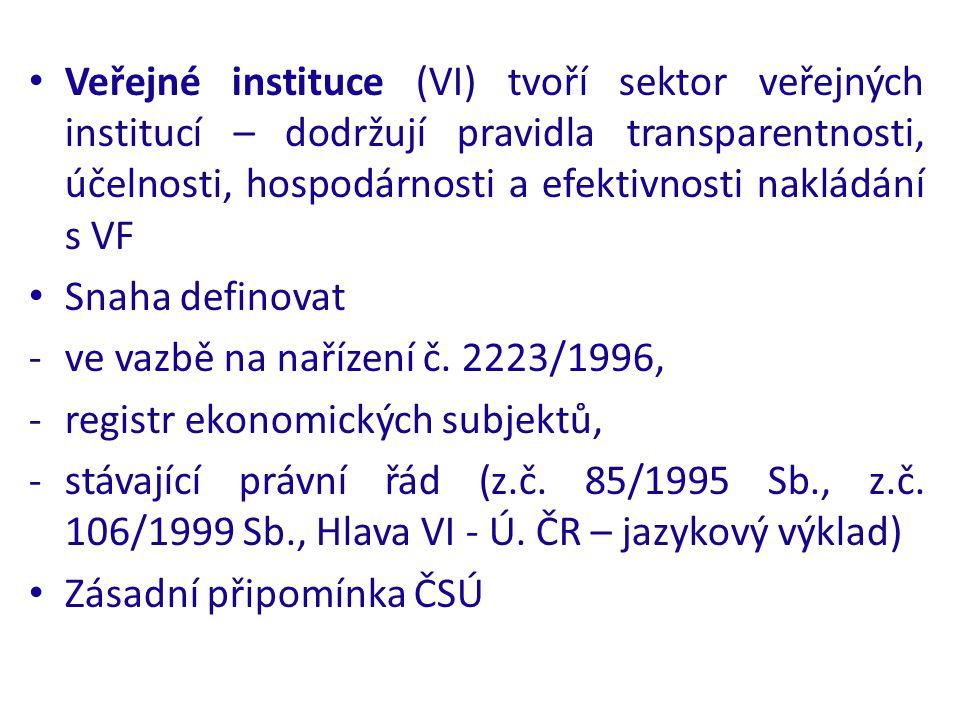 Veřejné instituce (VI) tvoří sektor veřejných institucí – dodržují pravidla transparentnosti, účelnosti, hospodárnosti a efektivnosti nakládání s VF Snaha definovat -ve vazbě na nařízení č.