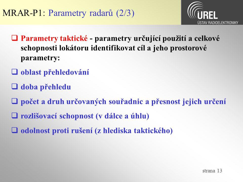 strana 13  Parametry taktické - parametry určující použití a celkové schopnosti lokátoru identifikovat cíl a jeho prostorové parametry:  oblast přeh