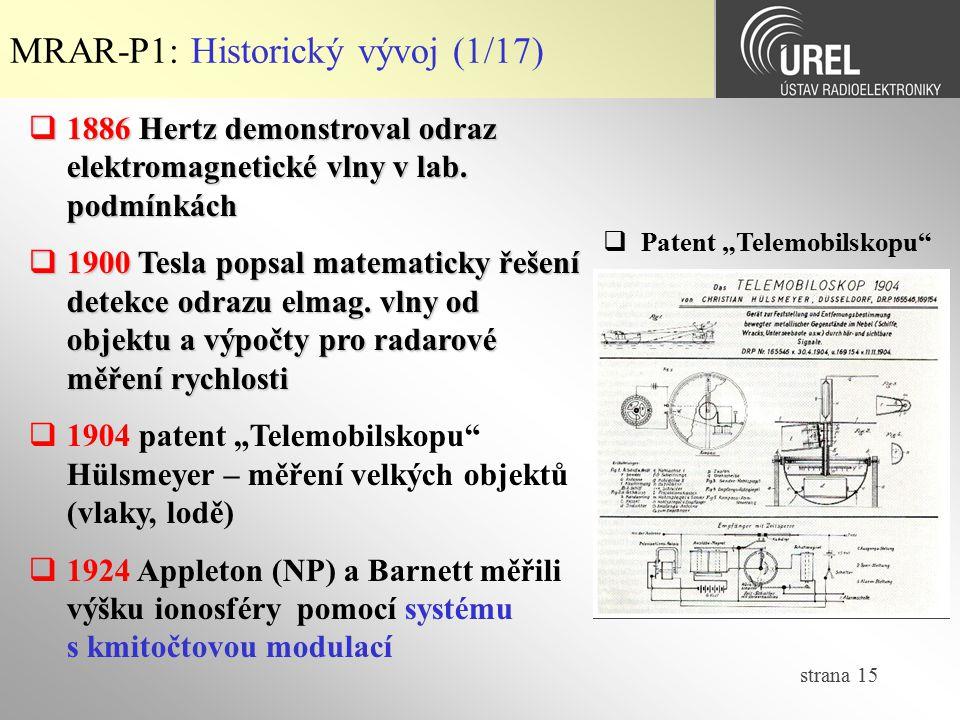 strana 15 MRAR-P1: Historický vývoj (1/17)  1886 Hertz demonstroval odraz elektromagnetické vlny v lab. podmínkách  1900 Tesla popsal matematicky ře