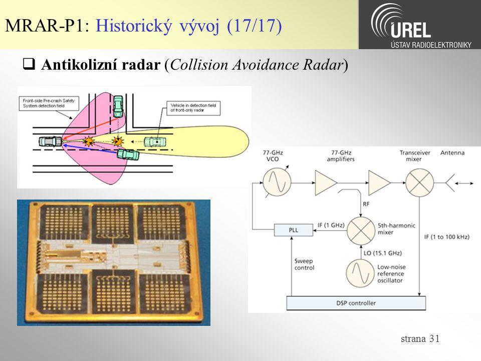 strana 31 MRAR-P1: Historický vývoj (17/17)  Antikolizní radar (Collision Avoidance Radar)