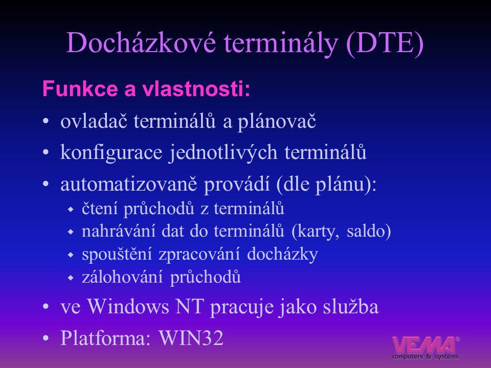 Docházkové terminály (DTE) Funkce a vlastnosti: ovladač terminálů a plánovač konfigurace jednotlivých terminálů automatizovaně provádí (dle plánu): 