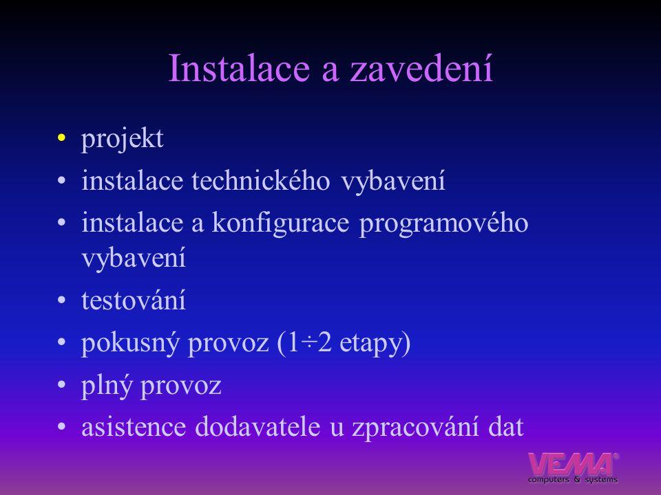 Instalace a zavedení projekt instalace technického vybavení instalace a konfigurace programového vybavení testování pokusný provoz (1÷2 etapy) plný pr