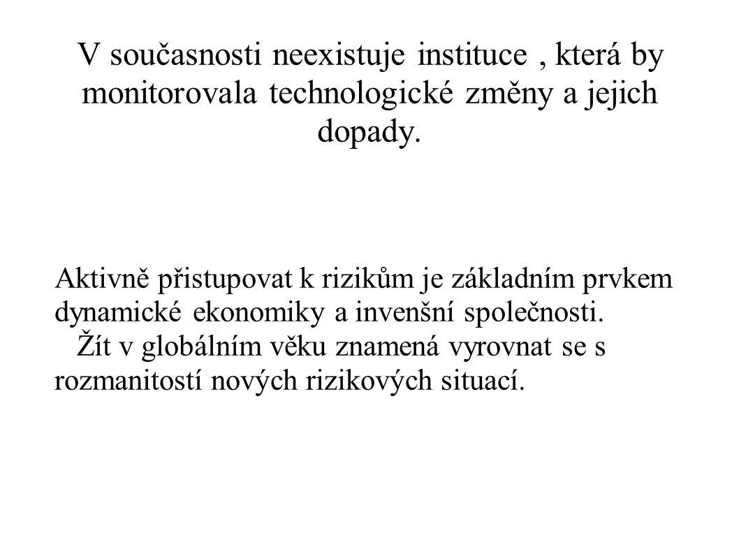 V současnosti neexistuje instituce, která by monitorovala technologické změny a jejich dopady. Aktivně přistupovat k rizikům je základním prvkem dynam