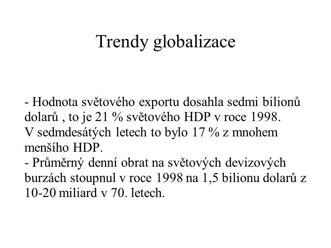 Trendy globalizace - Hodnota světového exportu dosahla sedmi bilionů dolarů, to je 21 % světového HDP v roce 1998. V sedmdesátých letech to bylo 17 %