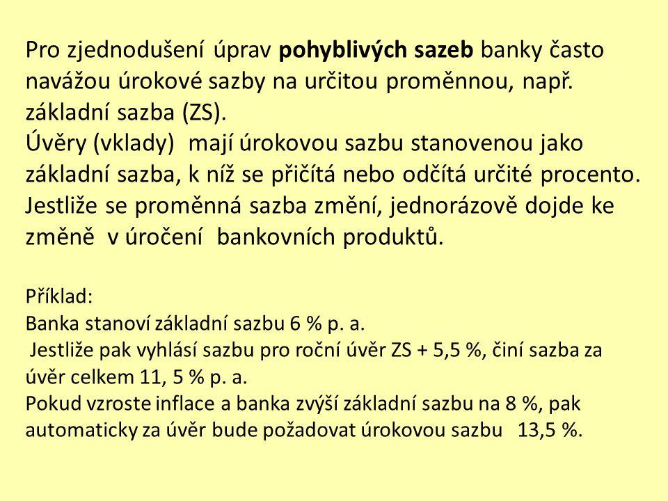 Pro zjednodušení úprav pohyblivých sazeb banky často navážou úrokové sazby na určitou proměnnou, např. základní sazba (ZS). Úvěry (vklady) mají úrokov