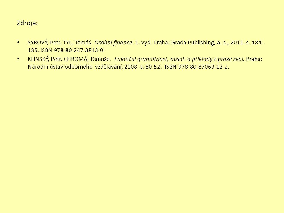 Zdroje: SYROVÝ, Petr. TYL, Tomáš. Osobní finance. 1. vyd. Praha: Grada Publishing, a. s., 2011. s. 184- 185. ISBN 978-80-247-3813-0. KLÍNSKÝ, Petr. CH
