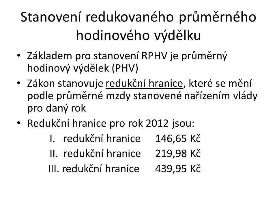 Stanovení redukovaného průměrného hodinového výdělku Základem pro stanovení RPHV je průměrný hodinový výdělek (PHV) Zákon stanovuje redukční hranice, které se mění podle průměrné mzdy stanovené nařízením vlády pro daný rok Redukční hranice pro rok 2012 jsou: I.