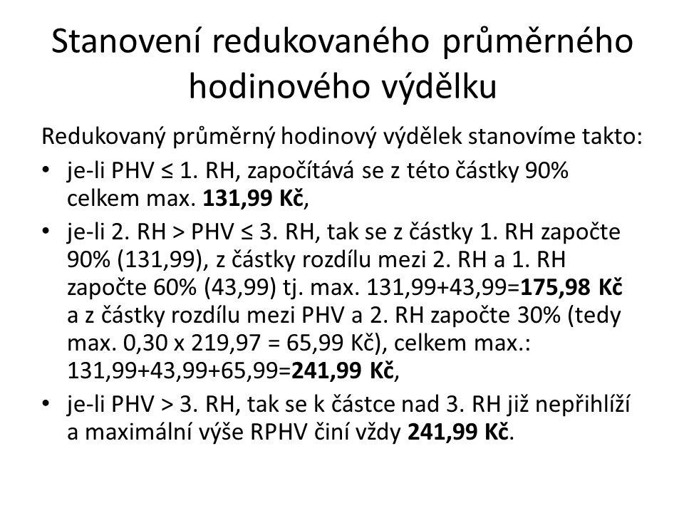 Stanovení redukovaného průměrného hodinového výdělku Redukovaný průměrný hodinový výdělek stanovíme takto: je-li PHV ≤ 1. RH, započítává se z této čás