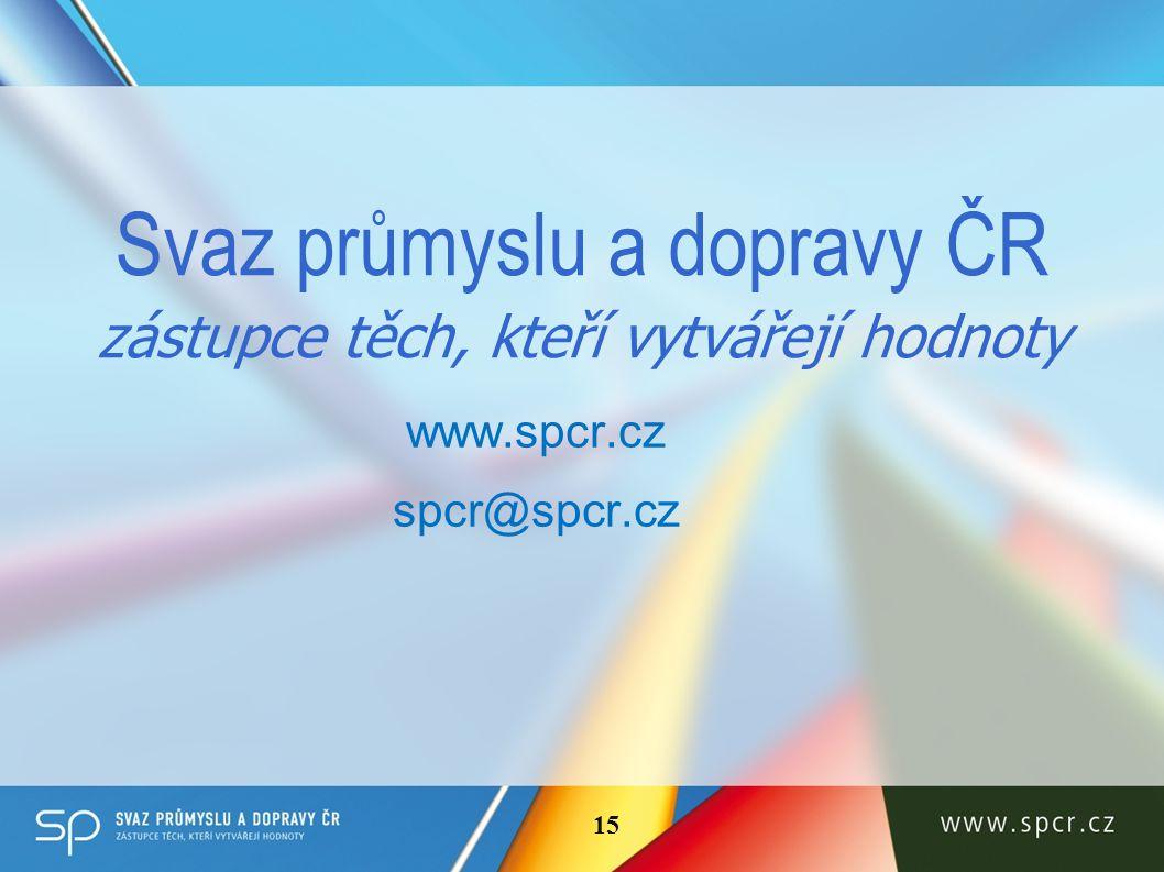 Svaz průmyslu a dopravy ČR zástupce těch, kteří vytvářejí hodnoty www.spcr.cz spcr@spcr.cz 15