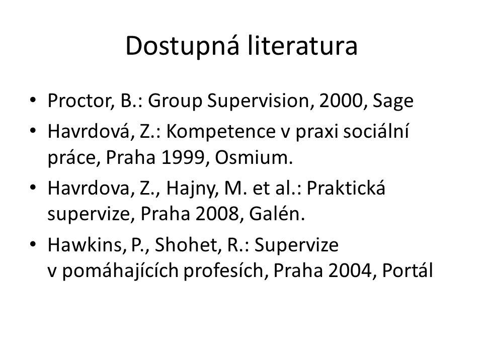 Dostupná literatura Proctor, B.: Group Supervision, 2000, Sage Havrdová, Z.: Kompetence v praxi sociální práce, Praha 1999, Osmium. Havrdova, Z., Hajn