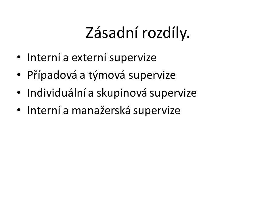 Zásadní rozdíly. Interní a externí supervize Případová a týmová supervize Individuální a skupinová supervize Interní a manažerská supervize