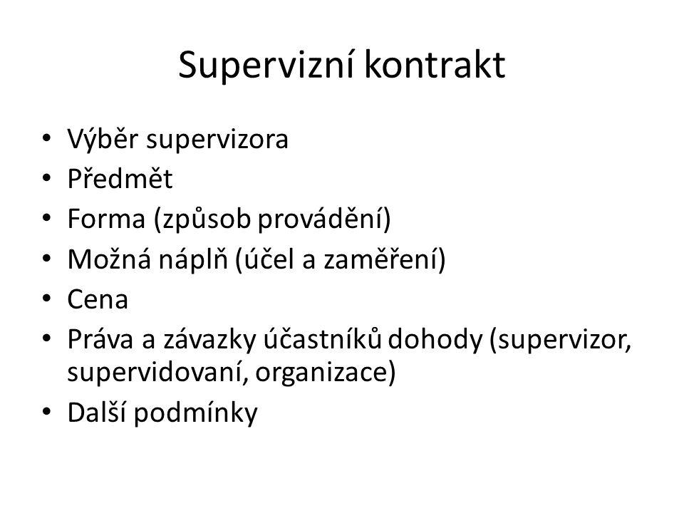 Supervizní kontrakt Výběr supervizora Předmět Forma (způsob provádění) Možná náplň (účel a zaměření) Cena Práva a závazky účastníků dohody (supervizor