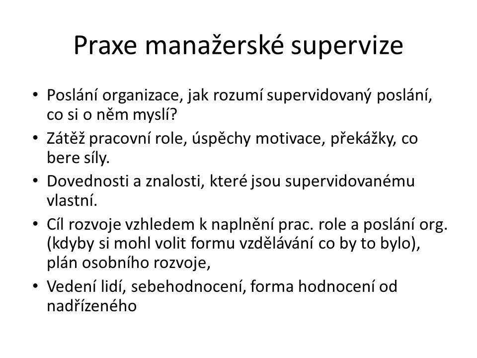 Praxe manažerské supervize Poslání organizace, jak rozumí supervidovaný poslání, co si o něm myslí? Zátěž pracovní role, úspěchy motivace, překážky, c