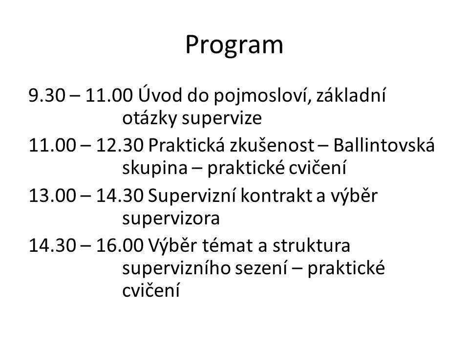 Program 9.30 – 11.00 Úvod do pojmosloví, základní otázky supervize 11.00 – 12.30 Praktická zkušenost – Ballintovská skupina – praktické cvičení 13.00