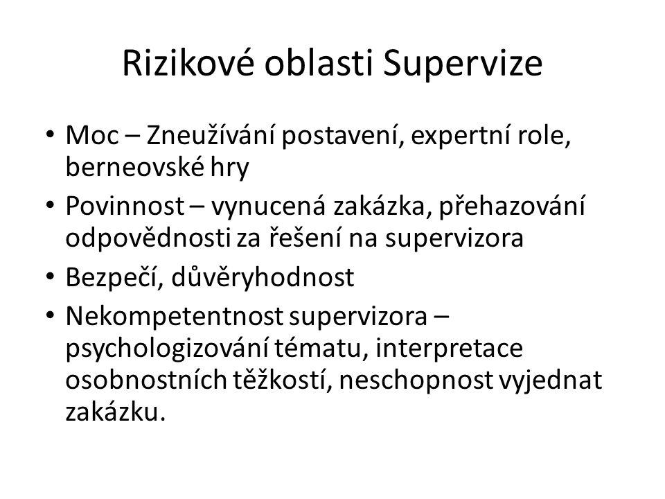 Rizikové oblasti Supervize Moc – Zneužívání postavení, expertní role, berneovské hry Povinnost – vynucená zakázka, přehazování odpovědnosti za řešení
