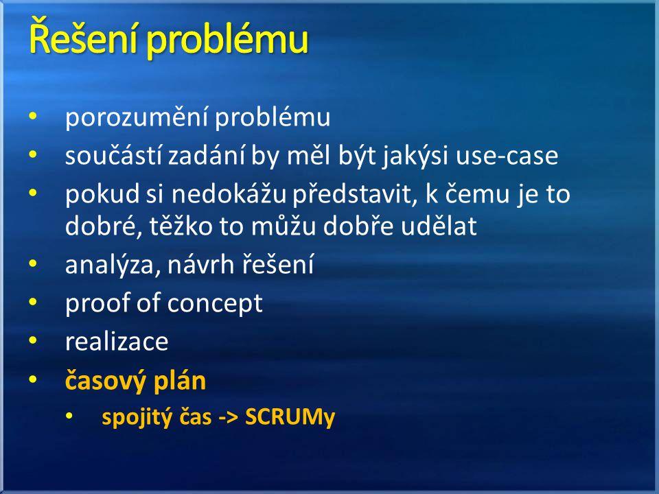 porozumění problému součástí zadání by měl být jakýsi use-case pokud si nedokážu představit, k čemu je to dobré, těžko to můžu dobře udělat analýza, návrh řešení proof of concept realizace časový plán spojitý čas -> SCRUMy