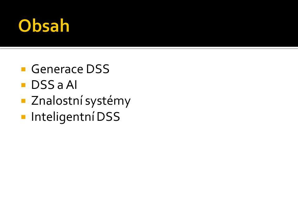  Generace DSS  DSS a AI  Znalostní systémy  Inteligentní DSS