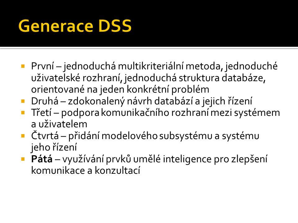  První – jednoduchá multikriteriální metoda, jednoduché uživatelské rozhraní, jednoduchá struktura databáze, orientované na jeden konkrétní problém 