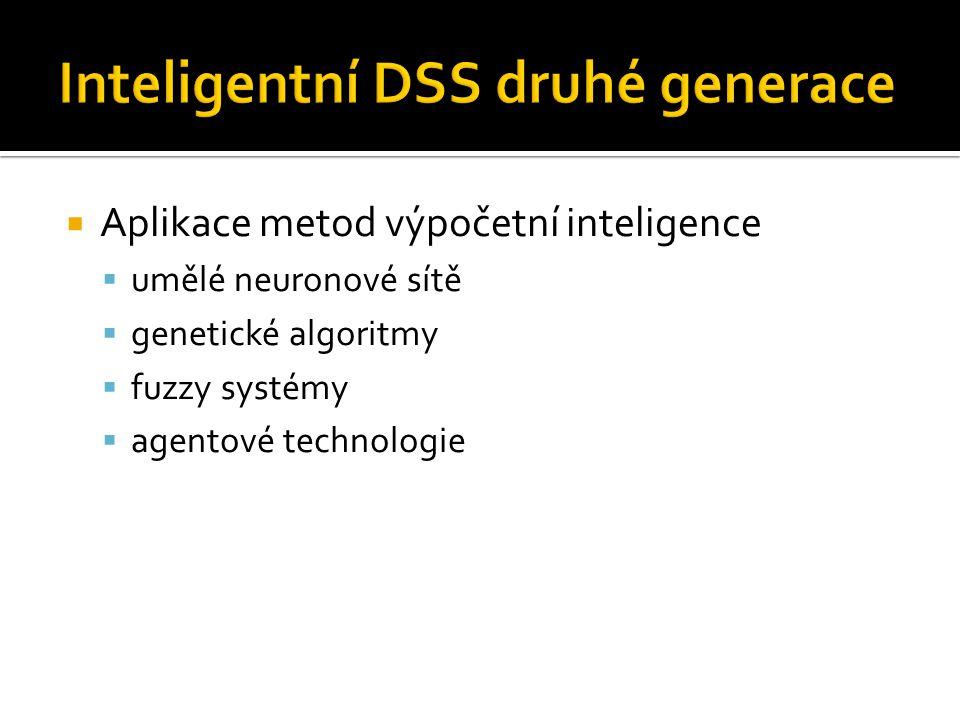  Aplikace metod výpočetní inteligence  umělé neuronové sítě  genetické algoritmy  fuzzy systémy  agentové technologie