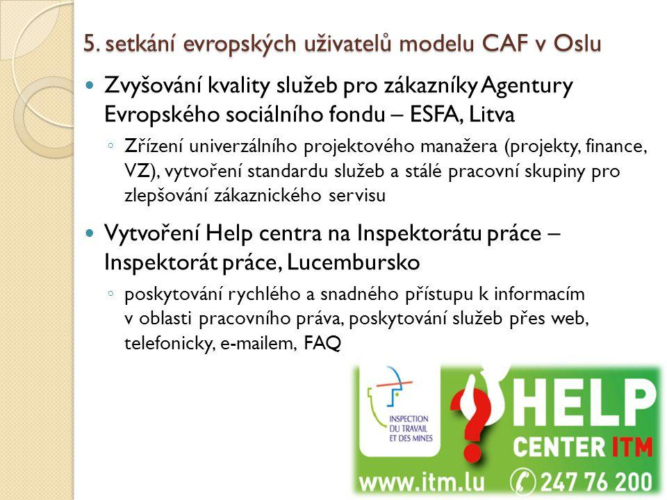 5. setkání evropských uživatelů modelu CAF v Oslu Zvyšování kvality služeb pro zákazníky Agentury Evropského sociálního fondu – ESFA, Litva ◦ Zřízení