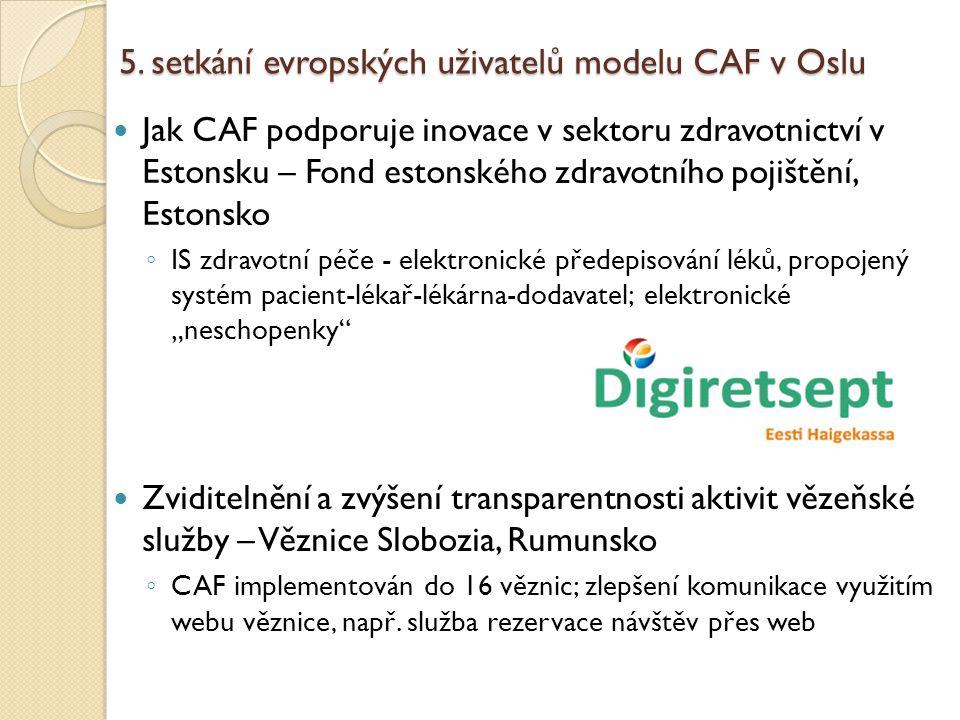 5. setkání evropských uživatelů modelu CAF v Oslu Jak CAF podporuje inovace v sektoru zdravotnictví v Estonsku – Fond estonského zdravotního pojištění