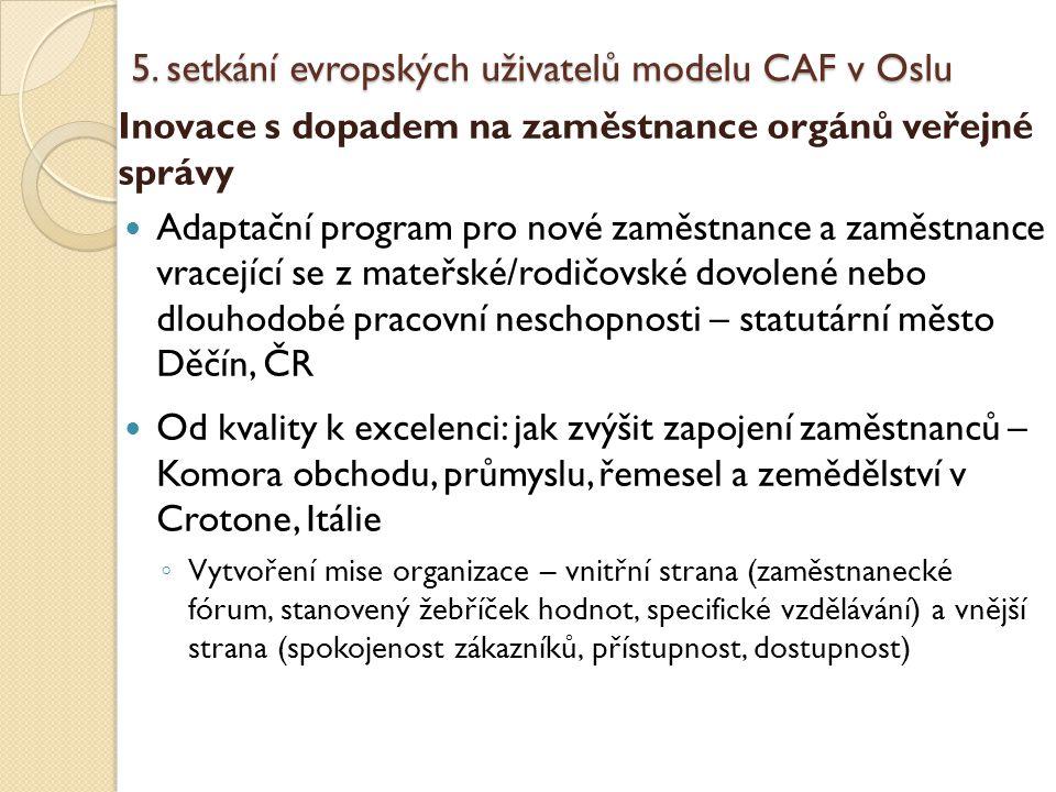 5. setkání evropských uživatelů modelu CAF v Oslu Inovace s dopadem na zaměstnance orgánů veřejné správy Adaptační program pro nové zaměstnance a zamě