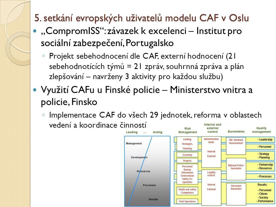 """5. setkání evropských uživatelů modelu CAF v Oslu """"CompromISS"""": závazek k excelenci – Institut pro sociální zabezpečení, Portugalsko ◦ Projekt sebehod"""