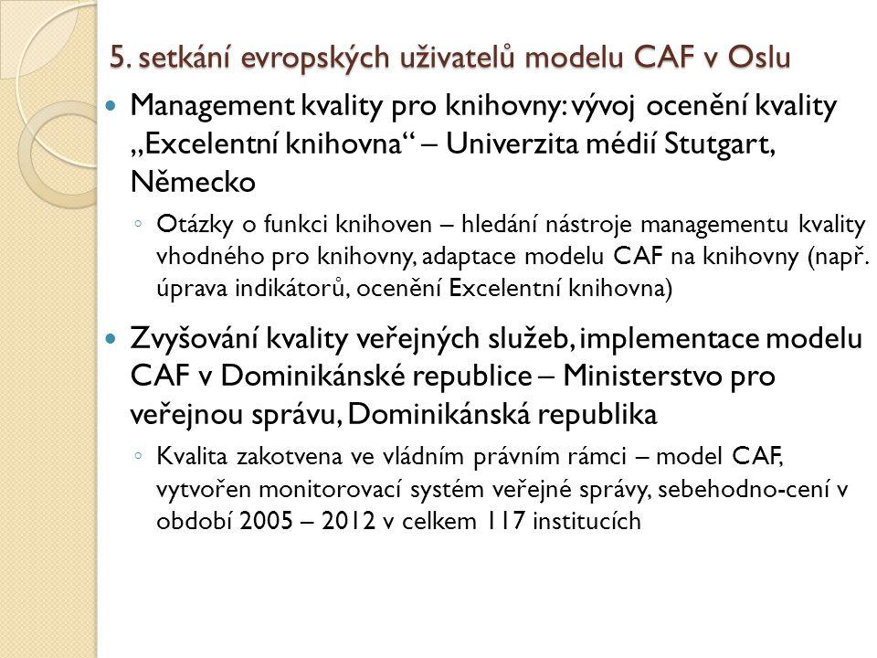 """5. setkání evropských uživatelů modelu CAF v Oslu Management kvality pro knihovny: vývoj ocenění kvality """"Excelentní knihovna"""" – Univerzita médií Stut"""