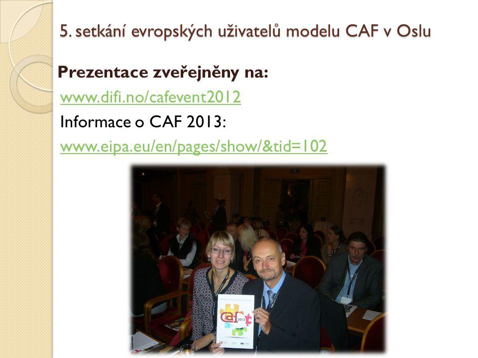 5. setkání evropských uživatelů modelu CAF v Oslu Prezentace zveřejněny na: www.difi.no/cafevent2012 Informace o CAF 2013: www.eipa.eu/en/pages/show/&